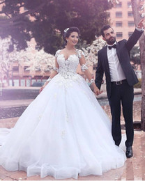 2016 Western Illusion Ball Gown Long Train Wedding Dresses White Tulle Crew Lace Applique Long Sleeves Beaded Bridal Wedding Gowns