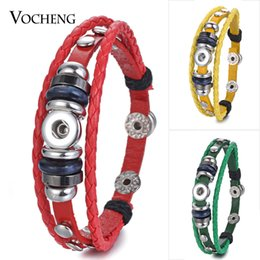 NOOSA Jewelry 3 Colors Braided Leather Snap Charm Bracelet Fit Petite 12mm Button Jewelry NN-460
