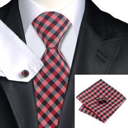 Red Brown White Plaids Checks Tie Men's Silk Formal Wedding Business Nectie Cufflinks Hanky Jaquard Woven Tie N-0952