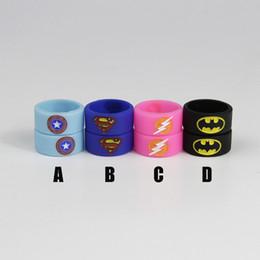 Wholesale Superman Batman Captain America Flash Silicone Vape Band Engraved Logo Silicon Beauty Decorative Ring for Glass Tanks Rba Rda Vapor Mod
