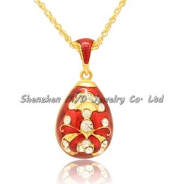Fashion women jewelry real gold plated clear crystal handmade color enameled Russian style Easter egg pendant necklace with chain