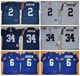 Wholesale Auburn Tigers NCAA College Football Jerseys Retro Jeremy Johnson Bo Jackson Jersey Cameron Newton Throwback Navy Blue White