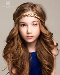 New Children Wig Hair Rope headwear adult Hair Accessories Kids girl wig hair woven elastic Hair Bands 10colors