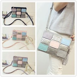 Wholesale Hot sale Summer explosion models fashion women style scarf color tile personality rivet package diagonal shoulder bag VMB101