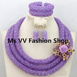 african beads jewelry set luxury lilac