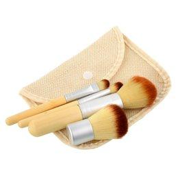 Wholesale 4 Branch Makeup Brush Set Brush Bamboo Handle Beautiful Make Up Tool Match Linen Bag Bamboo Handle Manufacture