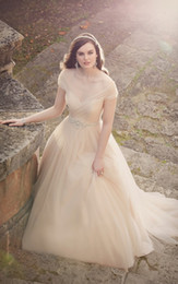 Wholesale Custom Champagne Wedding Dresses With Bedding Sash Pleats A Line Bridal Gowns Off the Shoulder Baby Pink Plus Size Bridal Gowns Vintage