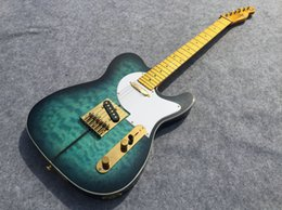 Wholesale Best selling TL electric guitar see thru green burst yellowish neck back and head top gold parts