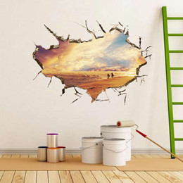 Wholesale new ideas D stereoscopic beach seaside crack wall stickers living room bedroom background wall sticker Fashionable Interior wall stickers d