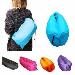 Wholesale 10pcs Lamzac Siesta Original Instantly Inflatable bed Lounge Chair Air Sofa sleep Bag Seconds Quick Open Sleeping sofa