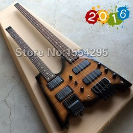 Wholesale Best Double Neck Headless Electric Guitar Bass Combo with Flamed maple top Double Neck Guitarra Black HardwareReal photo shows