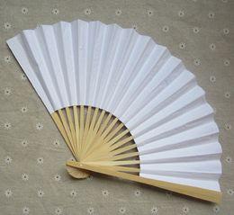 Wholesale Blank White Paper Folding Hand Fans Students Child DIY Fine Art Painting Practice Programs Fan quot