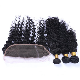 Virgin Brazilian Deep Curly Hair With Frontals 4Pcs Lot Cheap Brazilian Human Hair 3Bundles With Deep Curly 13x4 Lace Frontal Closure