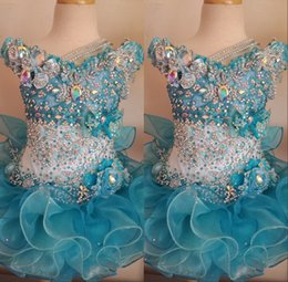 Wholesale 2016 Glitz Cupcake Pageant Dresses for Little Girls Baby Beaded Organza Cute Kids Short Infant Light Blue Crystal Birthday Party Beauty