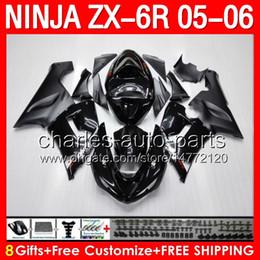 Wholesale 8gifts ALL black Fairing Kit For KAWASAKI NINJA ZX R ZX636 ZX6R ZX ZX R HOT stock flat glossy black Bodywork