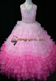 2016 Spring New Halter Sweerheart Organza Little Girl's Pageant Dresses Luxury Crystal Ball Gown For Birthday Wedding Kids Flower Dresses