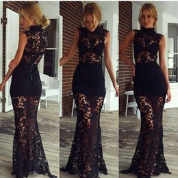Latest High Neck Lace Prom Dresses Sheath Sheer Fashion Zipper Up Back Elegant Real Party Evening Dresses Evening Gowns
