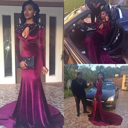 2017 Burgundy Velvet Evening Dresses Jewel Beaded Sexy Keyhole Long Sleeves Column Custom Made Long Prom Celebrity Gowns with Sweep Train