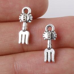Wholesale New x15mm Zinc Alloy Antique Silver Fork DIY Charms Pendants jewelry making DIY