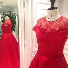 2016 Elegant Red A-line Wedding Dresses with Lace Sequins 3D Floral Jewel Illusion Portrait Appliques Bridal Dresses