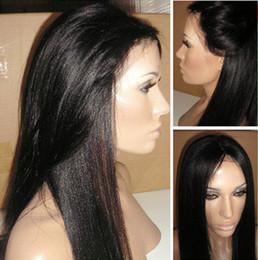 Promotion 18 pouces perruque synthétique droite 16-26 pouces Noir Longs Yaki droites en dentelle synthétique avant / Full Lace Wig résistant à la chaleur avec bébé cheveux naturels Hairline Pour les femmes noires