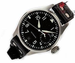 Luxe AAA Top Quality Big Pilot Sport 7 Montres de jour Réserve de marche Hommes en acier inoxydable Montres bracelet en cuir noir Mens Montre automatique à partir de bracelet en cuir pilote fabricateur