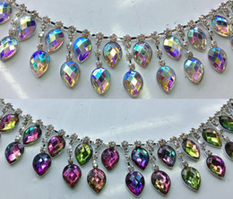 Wholesale 90cm fashion pink AB colorful acryl tear drop crystal rhinestone chain strass fringes for dancing dress garment decoration