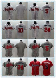 Wholesale Fast Men Atlanta Braves Baseball Jersey Freddie Freeman Chipper Jones Deion Sanders White Red Grey Stitched Jerseys