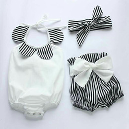 Wholesale Hug Me Toddler Girls Clothes Sets Summer Fashion Lace Stripe Rompers Bow Stripe Short Headband pieces sets MK