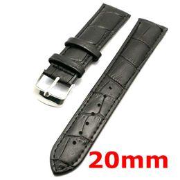 Promotion bracelet en cuir véritable Gros-20mm Bracelet en cuir véritable noir Bracelet Strap pour Heures PD020120