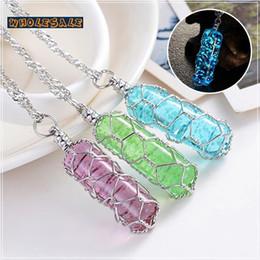 Wholesale European Atlantis Crystal Glow In The Dark Pendant Necklace Glowing Cylinder Stone Zinc Alloy Statement Chocker for women