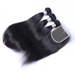 Cool 8A Quality Indian Straight Hair with one 4*4 Laceclosure No Shedding Free Tangle Full And Thick Free Shipping Fee DHL