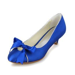 Wholesale Sexy Blue Prom Shoes - Royal Blue Wedding Dress Shoes 2016 Bridal low heel Heel Kitten Satin Peep Toe Custom Made Sandals Pumps Sexy Elegant Prom Shoes