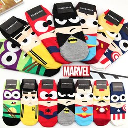 Wholesale Cartoon Ankle Socks Avengers Super Hero Batman Superman SpiderMan Sock Men Women Short Socks for Sport Kids Children Baby Cotton Socks