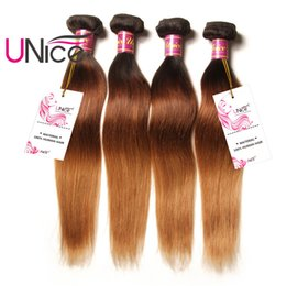 UNice Hair Peruvian Ombre Straight Human Hair Bundles T1B 4 27 16-26inch 1Piece Unprocessed Hair Extensions Remy Ombre Straight Bundle