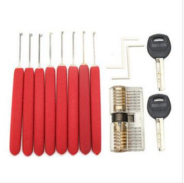 8Pcs Red Handle Kaba Lock Opener Lock Pick Tools with Transparent Practice Padlock Locksmith Practice Training Skill Set