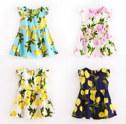 Wholesale 8 Style Baby Print Lemon pineapple Fly sleeve Dresses Kids Girl Summer floral Dress girls Fashion cotton fruit love heart Dress with belt