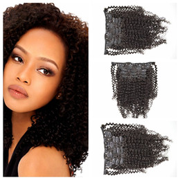 7pcs set Clip In On Hair Extensions afro kinky curly hair weaves Indian Human Hair 120g set natural Black G-EASY