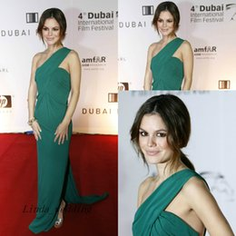 Rachel Bilson Long Green Evening Dress Red Carpet Chiffon Floor Length Special Occasion Dresse Celebrity Party Gown