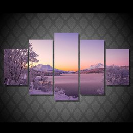 Wholesale 5 Set HD Printed stor vann snow lake Painting Canvas Print room decor print poster picture canvas buy abstract paintings