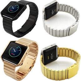 Compra Online Bandas de acero inoxidable enlaces-Pulsera de acero inoxidable de metal pulsera reloj correa de reloj de pulsera para Fitbit Blaze