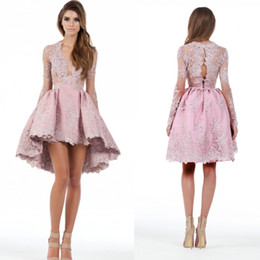 2016 Custom Made A Line Long Sleeves High Low Cocktail Party Dresses Lace Applique Plunging Homecoming Gowns Prom Short Mini Dresses BA1069