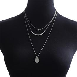 Wholesale Small Round Tag Pendant Friendship Gift Elegant Simple Jewelry Lady Custome Layer Chain Fashion Necklaces Fashion Jewelry dozen