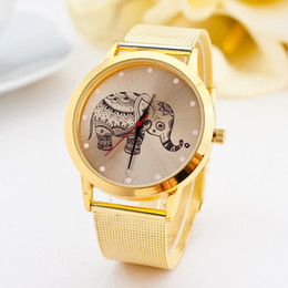 New arrival Luxury Stainless Steel Gold Watch Fashion Casual Women Watches Elephant Pattern Quartz WristWatch montre femme