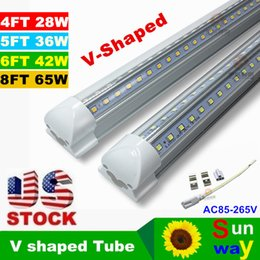 Wholesale T8 mm W V Shaped Led Tube Double Glow ft Integration For Cooler Door Lights AC110 V Warm Cool White Transparent Cover ce rohs UL