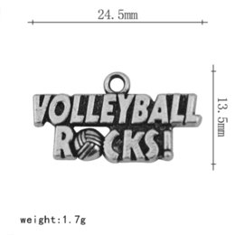 Wholesale 30Pcs Zinc Alloy Antique Silver Plated Single side Stylish Message VOLLEYBALL ROCKS Accessories Charm Jewelry charm pump