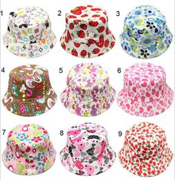 30 Style Children Emoji Bucket Hat Casual Flower strawberry Sun Printed Basin Canvas Topee Kids Hats Baby Beanie Caps