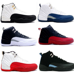 Wholesale Cheapest Low Cut Basketball Shoes - 2016 cheap basketball shoes air retro 12 man TAXI Playoff ovo white Gray Black Gym barons cherry RED Flu Game sport sneaker boots