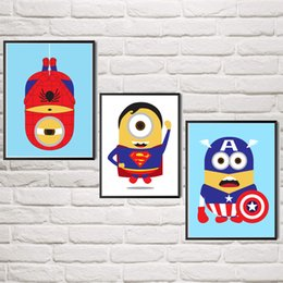 Wholesale Animated Movie Despicable Me Minions Spider Man Superman Captain America Art Silk Poster Decor Painting Unframed X32 Inch