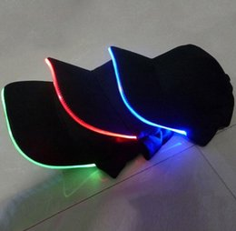 Wholesale 8 Color Light Choice Fashion LED Light Cap Glow Club Party Sports Athletic Black Fabric Outdoor Travel Hat Cap
